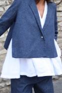 Flared jacket, blue recycled denim