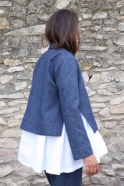 Veste évasée , jean recyclé bleu
