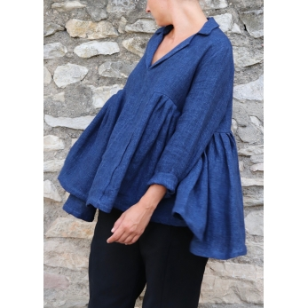 Pleated blouse, indigo heavy linen