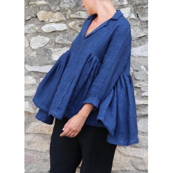 Pleated blouse, indigo heavy linen