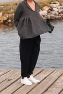 Blouse à plis, lin épais gris