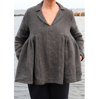 Pleated blouse, grey heavy linen