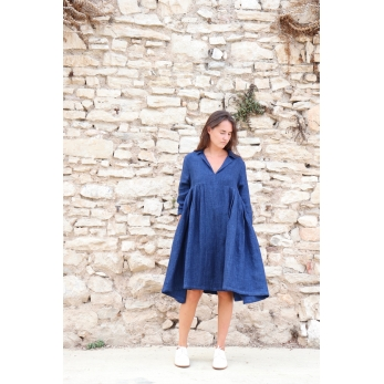 Pleated dress, indigo heavy linen
