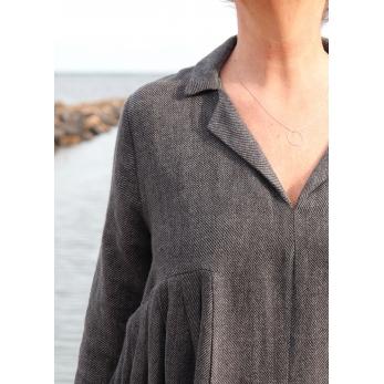 Long pleated dress, grey heavy linen