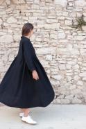 Long pleated dress, black linen