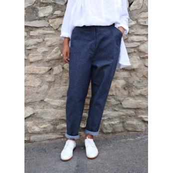"Pantalon""femme"", jean recyclé bleu"