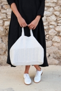 Squared bag, natural heavy linen