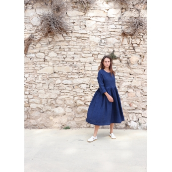 Long pleated dress, long sleeves, indigo heavy linen