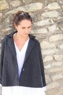 Flared jacket, gey wool raw edges