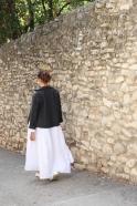 Long pleated dress, white linen