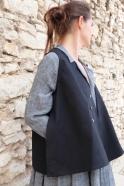 Flared sleeveless jacket, black denim
