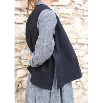 Flared sleeveless jacket, black denim