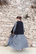 Robe longue à plis, lin gris