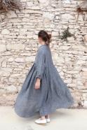 Long pleated dress, grey linen