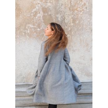 Pleated dress, small stripes fabric