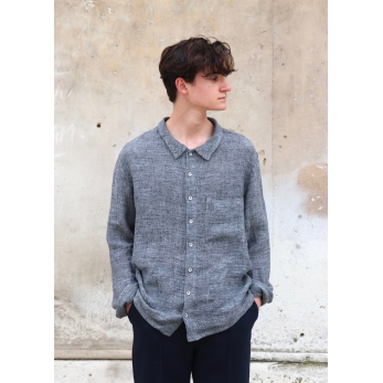Man shirt, grey linen