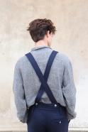Pantalon à bretelles pour homme, drap bleu marine