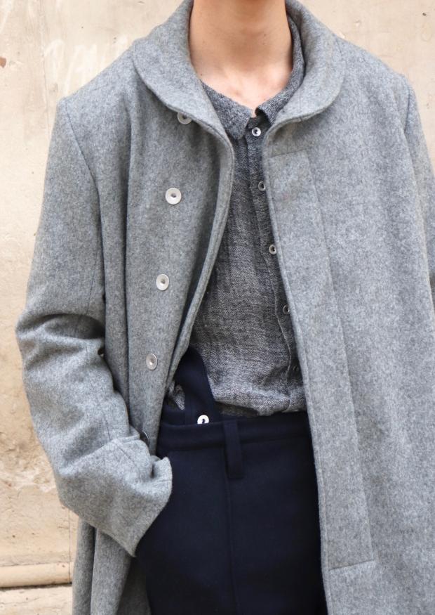 Manteau pour homme, drap de laine gris