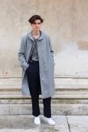 Coat for man, grey wool drap
