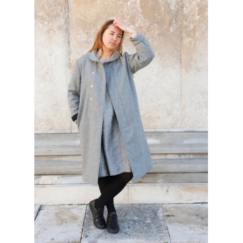 Coat, grey wool drap