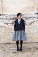 Pleated dress, sleeveless, grey wool blend