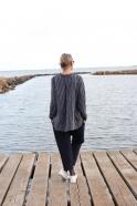 Saroual trousers, navy blue wool drap
