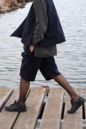 Unisex short, navy blue wool drap