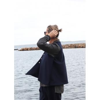 Flared sleeveless jacket, navy blue wool drap