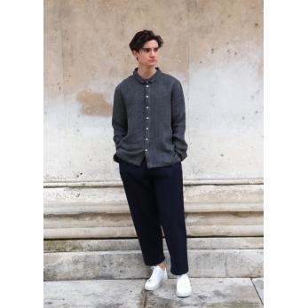 Long trousers, navy blue wool drap