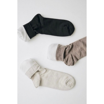 Silk wool double-faced socks, dark mocha