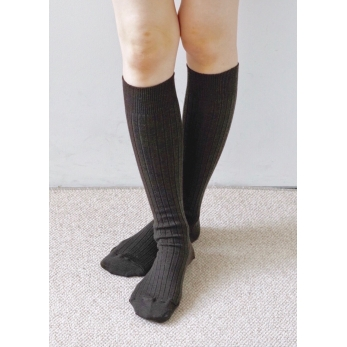 Merino wool ribbed High socks, mocha brown