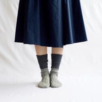 Wool cotton slab socks, grey