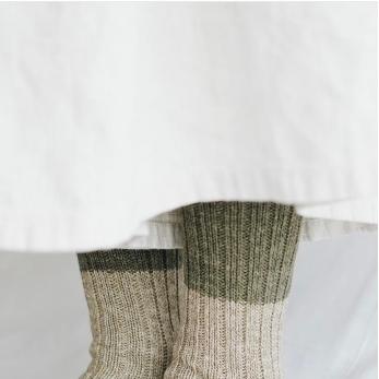 Chaussettes côtelées en laine et coton, kaki