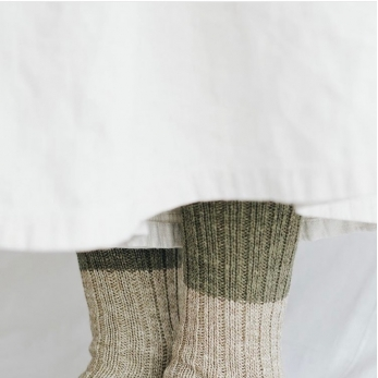 Wool cotton slab socks, jungle green