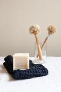 Bif waffle kitchen and wash cloth, navy blue cotton