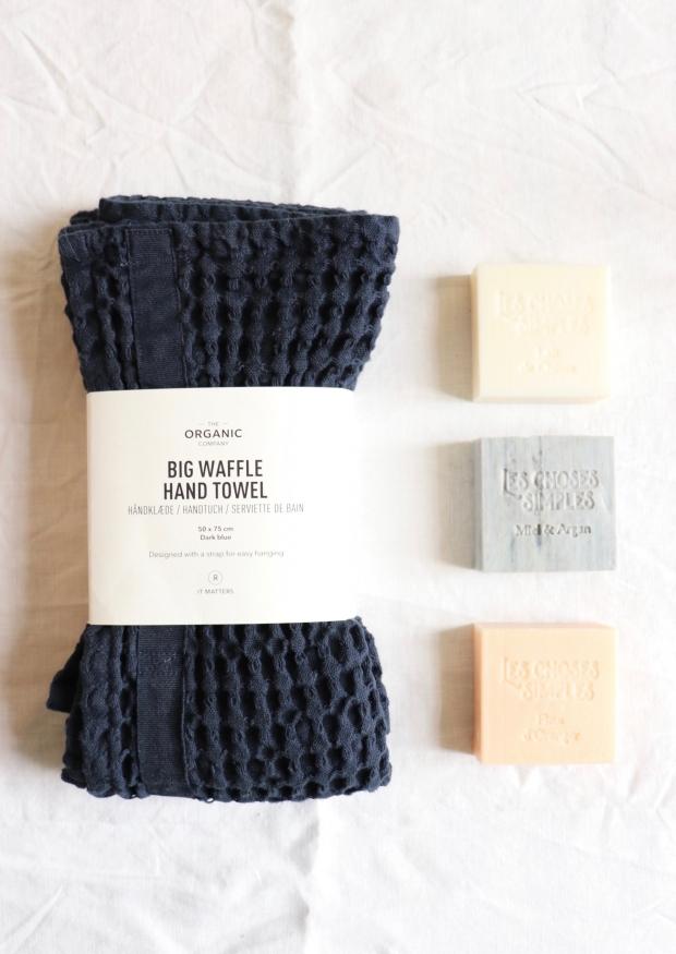 Serviette de bain en nid d'abeille, coton bleu marine