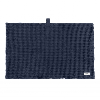 Big waffle bath mat, navy blue cotton