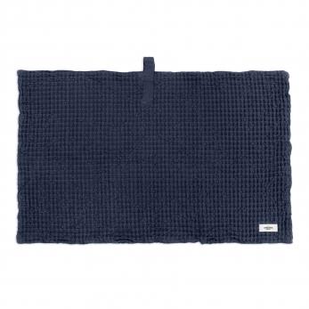 Tapis de bain en nid d'abeille, coton bleu marine