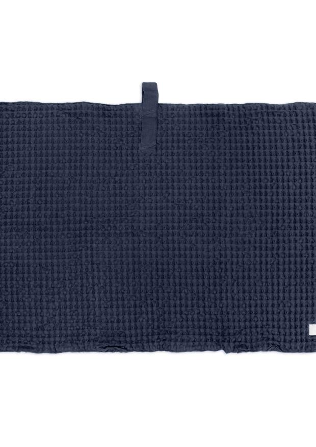 Big waffle bath mat, navy blue cotton