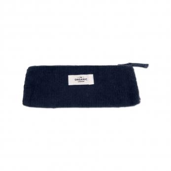 Pencil case in navy blue corduroy