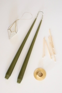 Taper candle, olive green