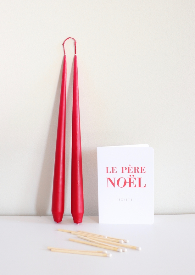 Bougie chandelle rouge