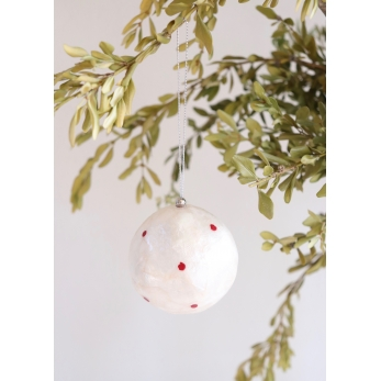 Capiz Christmas ball, red polka dots