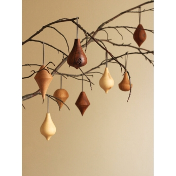 Turned wooden baubles