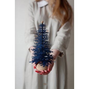 Fir tree - Paper 3D decoration kit, dark blue