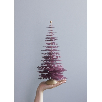 Fir tree - Paper 3D decoration kit, claret red