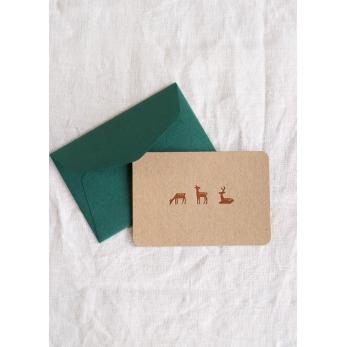 Mini carte postale + enveloppe Daims