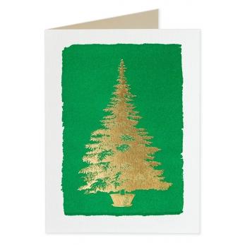 Carte postale + enveloppe Sapin doré sur fond verta