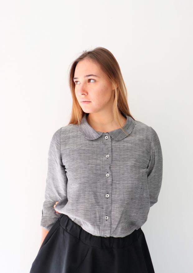 Long sleeves shirt, small stripes fabric