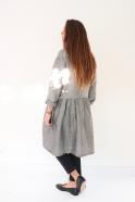 Shirt-dress, small stripes fabric
